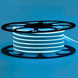Стрічка неонова блакитна 12V smd2835 120лед 6Вт 8*16 PVC герметична 1м