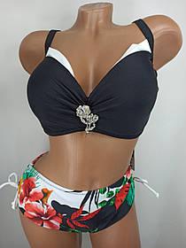 Женский яркий купальник с плотной чашкой Sisianna 3181356 черный на 50 52 54 56 58 размер