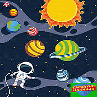 Картина по номерам для детей Космос, платеты и космонавт +ЛАК 30*30см Барви Раскраска по цифрам Для начинающих