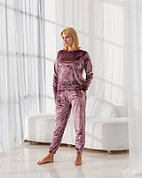 Жіночий домашній костюм/піжама. Пудра велюровий.