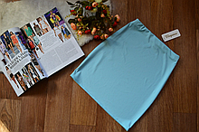 Женская трикотажная мини юбка, однотонная. Размеры 40, 42, 44, 46. Голубая