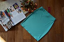 Женская трикотажная мини юбка, однотонная. Размеры 40, 42, 44, 46. Мятная
