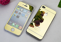 Защитное стекло для iPhone 4/4S (перед и зад) - HPG Mirror Tempered glass 0.3 mm (золотой)