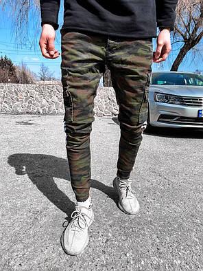 Мужские зауженные джинсы камуфляжные с накладными карманами, фото 2