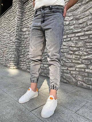 Чоловічі джинси-джоггеры сірі під манжет, фото 2