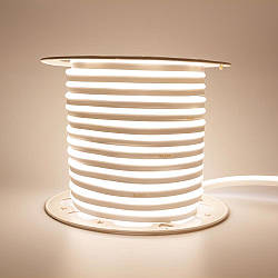 Стрічка неонова біла тепла AVT 220V smd2835 120лед 7Вт герметична 1м