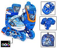 """Комплект """"3-wheels"""". Blue. розмір 27-30. Всі колеса світяться!"""