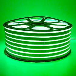 Стрічка неонова зелена 220V smd2835 120лед 7Вт герметична 1м