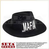 Черная гангстерская шляпа (бюджетная) с надписью MAFIA
