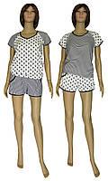 Костюм женский домашний, футболка и шорты 21011 Summer коттон Черно-белый, фото 1
