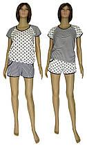 Костюм женский домашний, футболка и шорты 21011 Summer коттон Черно-белый