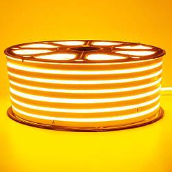 Стрічка неонова жовта 220V smd2835 120лед 7Вт герметична 1м