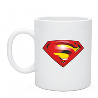 Кружка белого цвета с логотипом супермен, лого Superman