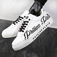 Мужские кроссовки в стиле Philipp Plein Белые с черным весна/лето/осень обувь мужская Размер 40,41,42,43,44