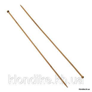 Спицы Прямые Односторонние из Бамбука, 400х6мм (1 пара)