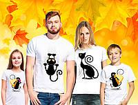 """Футболки Фэмили Лук Family Look для всей семьи """"Кот, Кошка и мышонок"""" Push IT"""