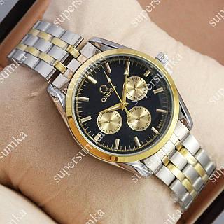 Кварцевые наручные часы Omega Quartz 008 Silver-gold/Black 1850