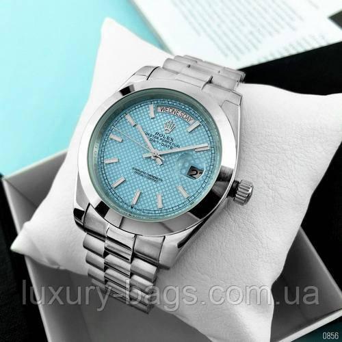 Годинники наручні Rolex Day-Date Silver-Blue