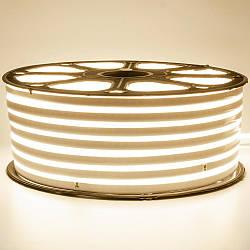 Стрічка неонова біла тепла 220V smd2835 120лед 7Вт герметична 1м