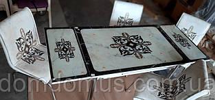 """Комплект кухонной  мебели """"Узор"""" (стол ДСП 110*70 см, калённое стекло + 4 стула) Mobilgen, Турция"""