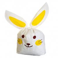 Пакет зайчик/кролик з вушками 20х23 см жовтий