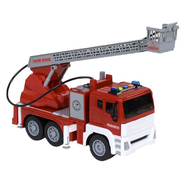 Пожарная машина игрушка брызгает водой с водяной помпой и лестницей City Service Fire Fighter со светом звуком