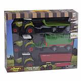 Тракторы с прицепами набор детский игрушечный Farm Truck со звуками и светом Зеленый (57113), фото 2