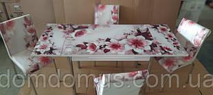 """Комплект обеденной мебели """"Розовый цветок"""" (стол ДСП, каленное стекло + 4 стула) Mobilgen, Турция"""