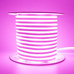 Стрічка неонова рожева AVT 220V smd2835 120лед 7Вт герметична 1м