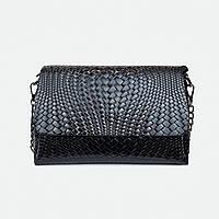 Стильная сумка кросс-боди кожаная средняя черная 009-1