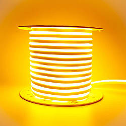 Стрічка неонова жовта AVT 220V smd2835 120лед 7Вт герметична 1м