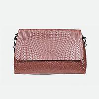 Модная женская розовая сумочка кожаная прямоугольная 009-1