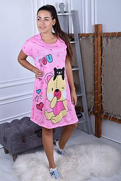 Жіноча нічна сорочка рожева код П258