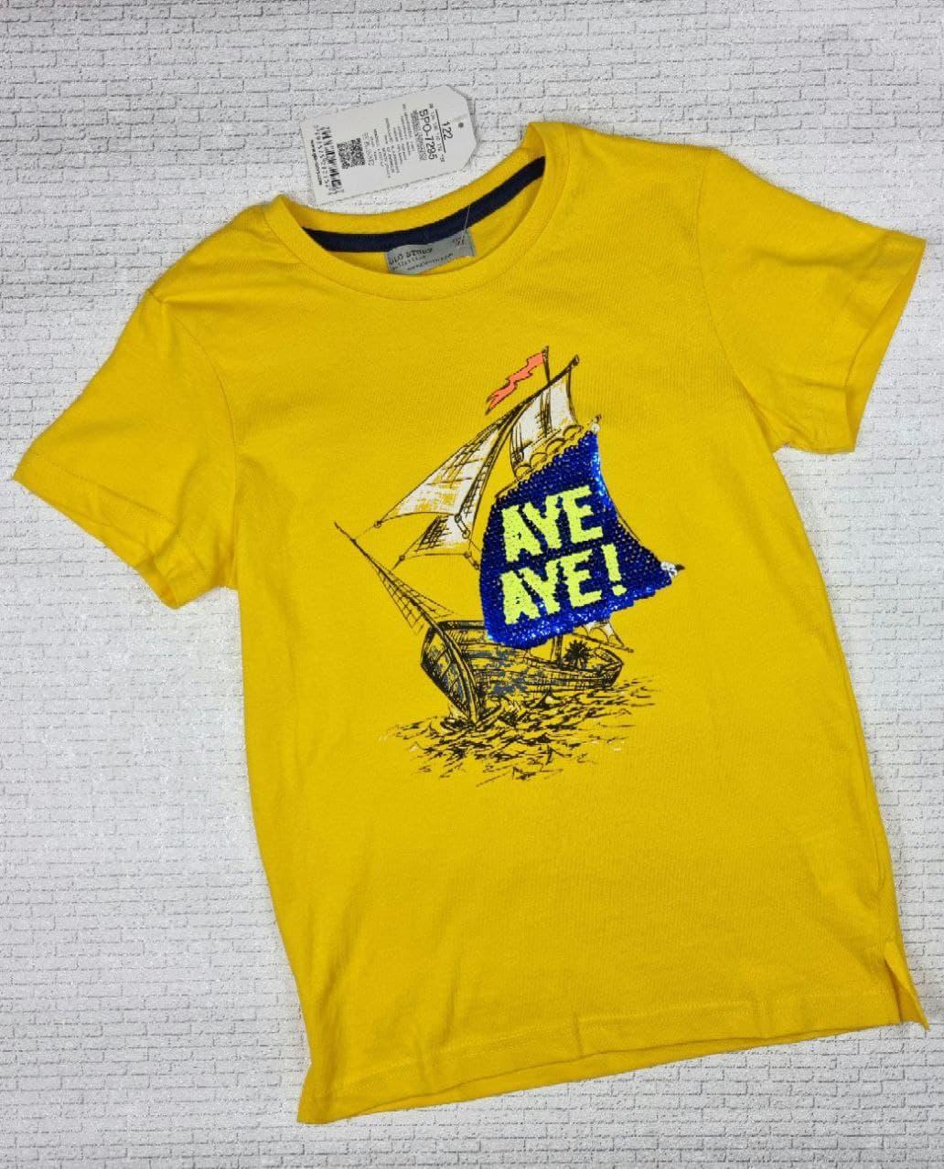 Футболка GLO-STORY на мальчика  122, 128 см, жёлтый