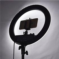 Профессиональная кольцевая LED лампа RL-18 (46см) со штативом и тремя держателями и пультом, 220V, фото 3