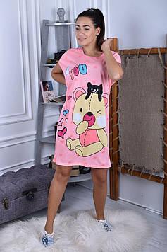 Женская ночная рубашка пудровая код П258