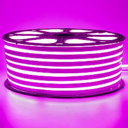 Стрічка неонова рожева 220V smd2835 120лед 7Вт герметична 1м