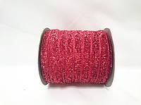 Блестящая лента 1см 23 метра декоративная красная
