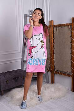 Жіноча нічна сорочка рожева код П259