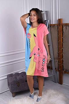 Женская ночная рубашка пудровая код П252