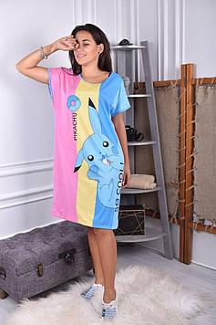 Женская ночная рубашка голубая код П252