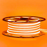 Лента неоновая оранжевая AVT-1 220V smd2835 120лед 7Вт герметичная 1м, фото 1
