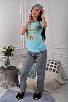 Піжама жіноча блакитна футболка і штани код П251