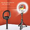 Кільцева світлодіодна LED Лампа 18см Beauty Fill Light XT-18S з висувним штативом і селфи палицею для блогера