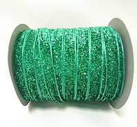 Блестящая лента 1см 23 метра декоративная зеленая