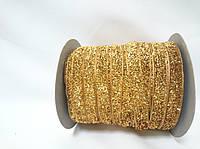 Блестящая лента 1см 23 метра декоративная темно-золотая