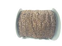Блестящая лента 1см 23 метра декоративная коричневая