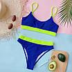 Жіночий ефектний купальник у рубчик з високими плавками, фото 7