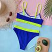 Жіночий ефектний купальник у рубчик з високими плавками, фото 8