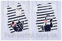 """Туніка дитяча літня в смужку з кішкою на дівчинку 3-7 років """"MARI"""" купити оптом в Одесі на 7км"""